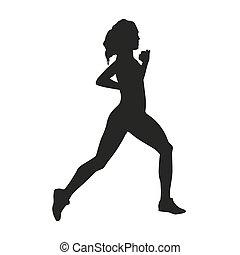 Run. Woman vector silhouette