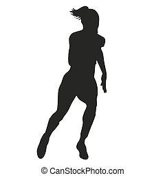 Run woman vector silhouette