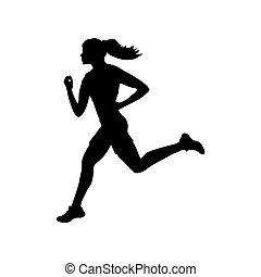 Runner athlete girl sport silhouette fitness health