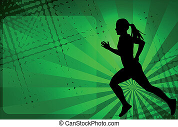 runner on the abstract background