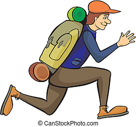 running a tourist with a backpack