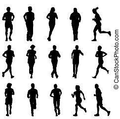 large set of walking and running silhouettes