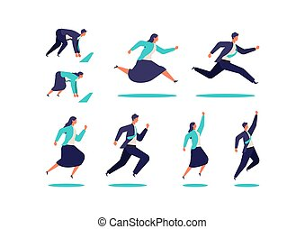 Running businessman and woman in suits.  Active poses of business people.