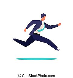 Running businessman in suits.  Active poses of business people.