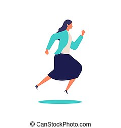 Running businesswoman in suits.  Active poses of business people.