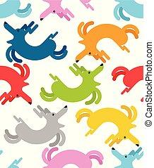 Running dog pattern seamless. Pet joyful background. Children cloth texture. Vector illustration