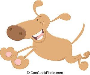 running funny dog cartoon