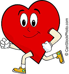 Cartoon illustration of a heart running to keep healthy