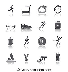 Running race sport activity black silhouette icons set isolated vector illustration