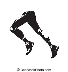 Running legs, abstract isolated vector silhouette, side view