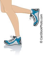 Cropped Illustration Featuring the Legs of a Woman Wearing Running Shoes