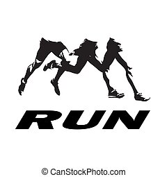 Running legs logo, abstract isolated vector silhouettes, group of running people. Side view