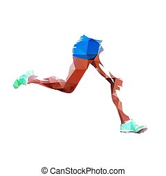 Running legs, low polygonal abstract isolated vector illustration, side view