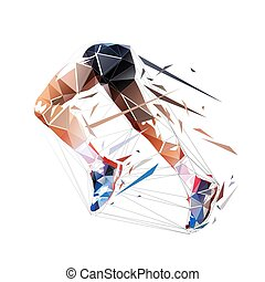Running legs, low polygonal isolated vector illustration. Run, geometric logo from triangles, side view