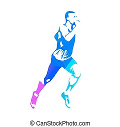 Running man, abstract geometric blue vector silhouette