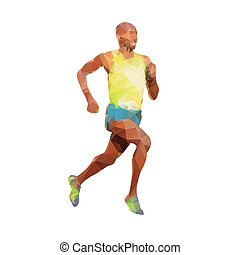 Running man, abstract geometric vector silhouette