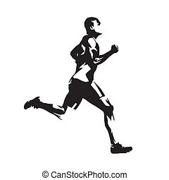 Running man, abstract vector silhouette. Side view