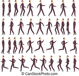 Running man. Businessman fast running keyframe animation 2d cartoon flat sprite for game profile side view vector character