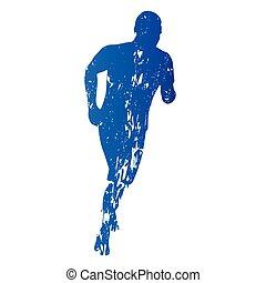 Running man, run, abstract grungy vector silhouette