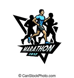Running marathon, emblem, logo.