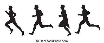Running men, set of vector silhouettes