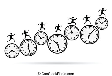 vector illustrations of busy concepts, running out of time.