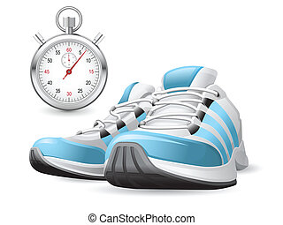 Piar of running shoes and stopwatch
