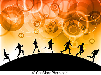 silhouettes of athletes on the background