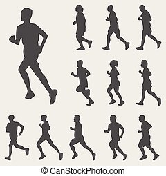 Running silhouettes vector set