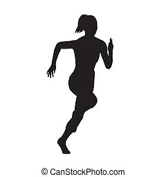 Running woman front view vector silhouette