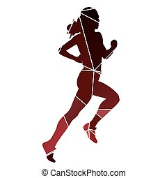 Running woman. Red abstract run silhouette