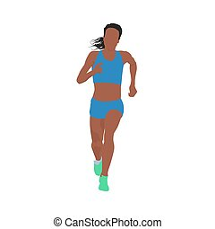 Running woman, vector illustration. Front view