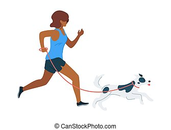 Running woman with dog flat vector illustration