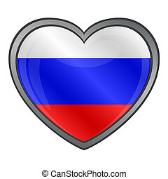 Russia Flag Heart Glossy Button