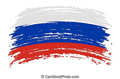 Russia torn flag in grunge brush stroke, vector