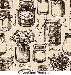 Rustic, mason and canning jar. Vintage hand drawn sketch seamless pattern. Vector illustration