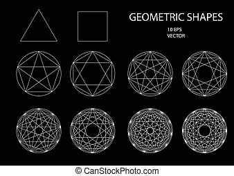 Sacred Geometry. Drawing. Types of crossings. Geometry. Cryptogram. Trendy hipster icons and logotypes. lines crossing the polygon inscribed in a circle. Vector 10 eps.
