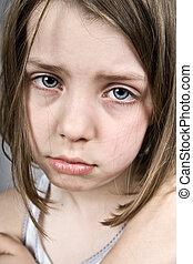 Shot of a Sad Blue Eyed Girl
