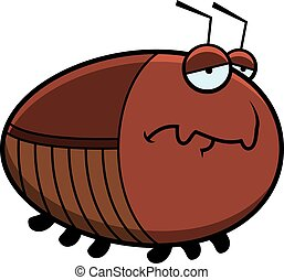 A cartoon illustration of a cockroach with a sad expression.