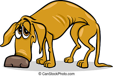 Cartoon Illustration of Sad Homeless Dog