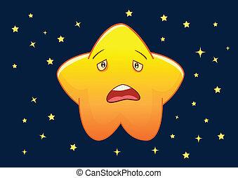 Sad Star Cartoon Character Illustration in Vector