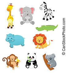 Collection of cute safari animals.