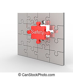 Safety puzzle. White isolated 3d render
