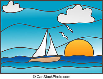 """Sailboat in the ocean """"stained glass"""" style illustration"""