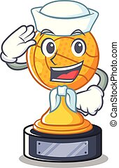 Sailor basketball trophy isolated in the mascot