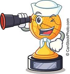 Sailor with binocular basketball trophy character shaped on cartoon