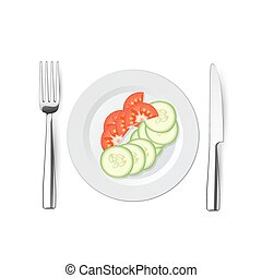 salad of cucumbers and tomatoes with a knife, fork