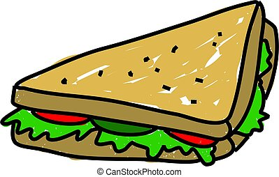 salad sandwich isolated on white drawn in toddler art style