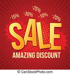 Sale, amazing discount design template on red background, vector illustration