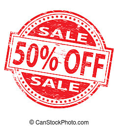 """Rubber stamp illustration showing """"50 PERCENT OFF"""" text"""